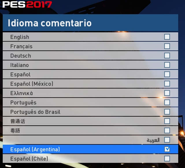 Idiomas del PES 17