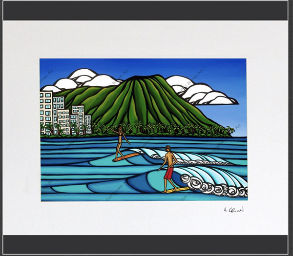 diamond head surf art heather brown tropical and beach art