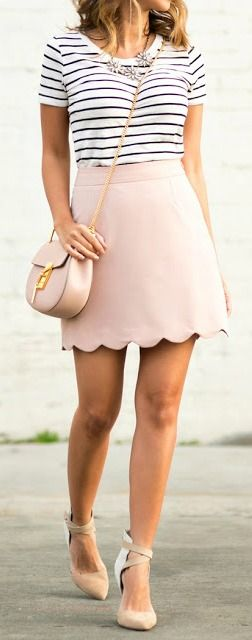 pastel casual style outfit: top + skirt + bag