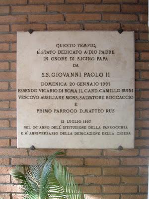 San Giovanni Paolo II Sant'Igino targa