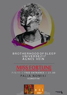 7 May: Brotherhood Of Sleep, Universe217, Agnes Vein live @ Komotini