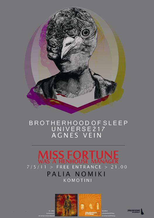 7 May: Brotherhood Of Sleep, Universe217, Agnes Vein live @ Komotini