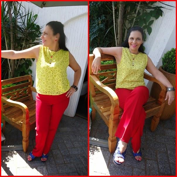 b015ffd14aca9 ASSIM QUE EU FUI  como gosto de cores bem fortes optei pelo bloco de cor  usando uma blusa amarela e uma calça vermelha