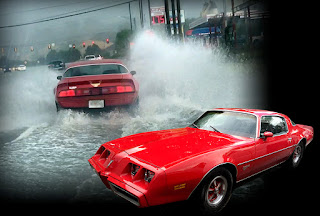 1979 Firebird Esprit sprays water 10-feet high during a cruise home through a massive rainstorm.