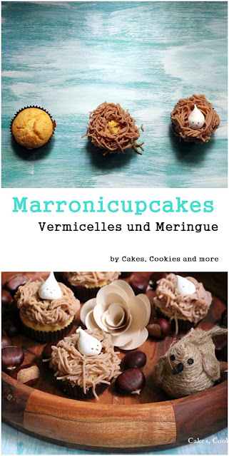 Marronicupcakes mit Meringue und Vermicelles