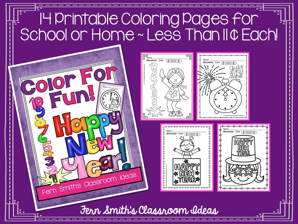 Fern Smith's Classroom Ideas Happy New Year Fun! Color For Fun Printable Coloring Pages