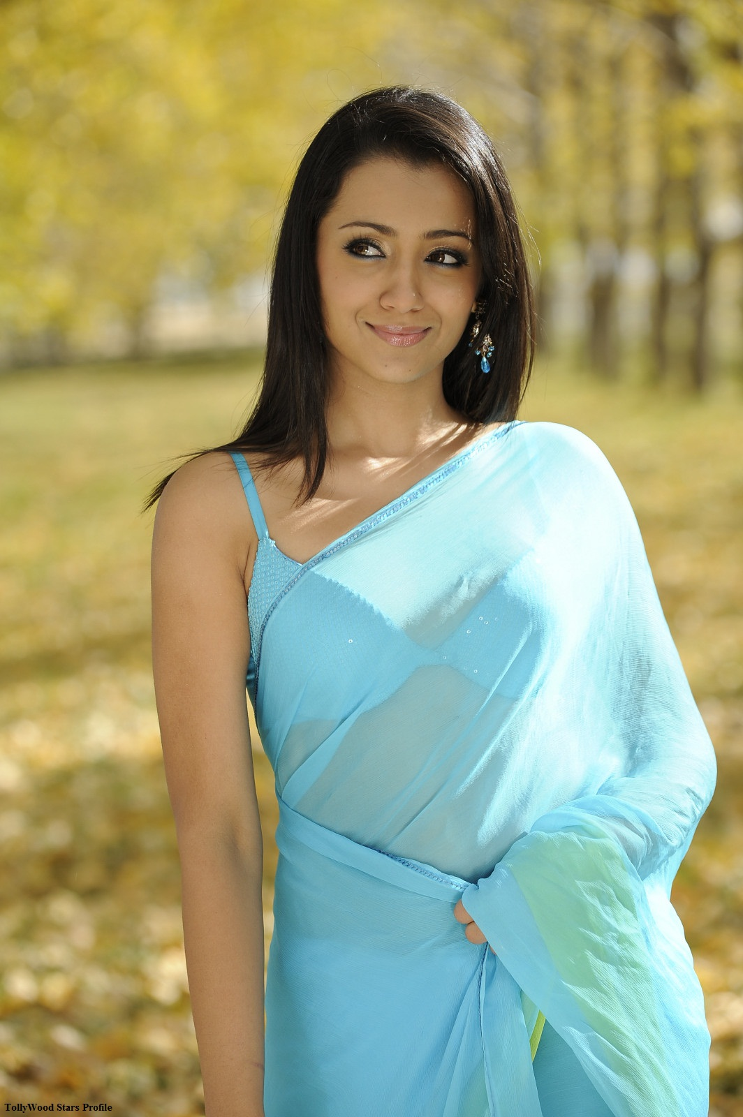 Trisha Hot Blue Saree Stills From Body Guard Movie -9800