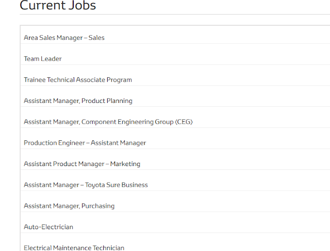 Toyota Motors Company Jobs 2021 For Male & Female || daily jobs in Pakistan