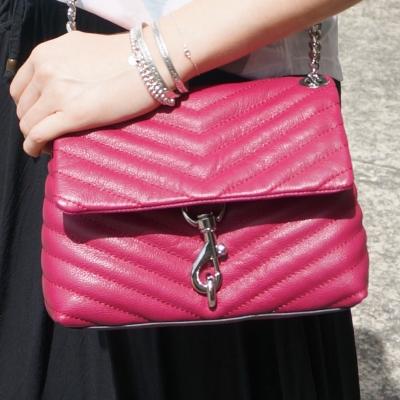 Rebecca Minkoff Edie small crossbody bag in magenta | awayfromtheblue