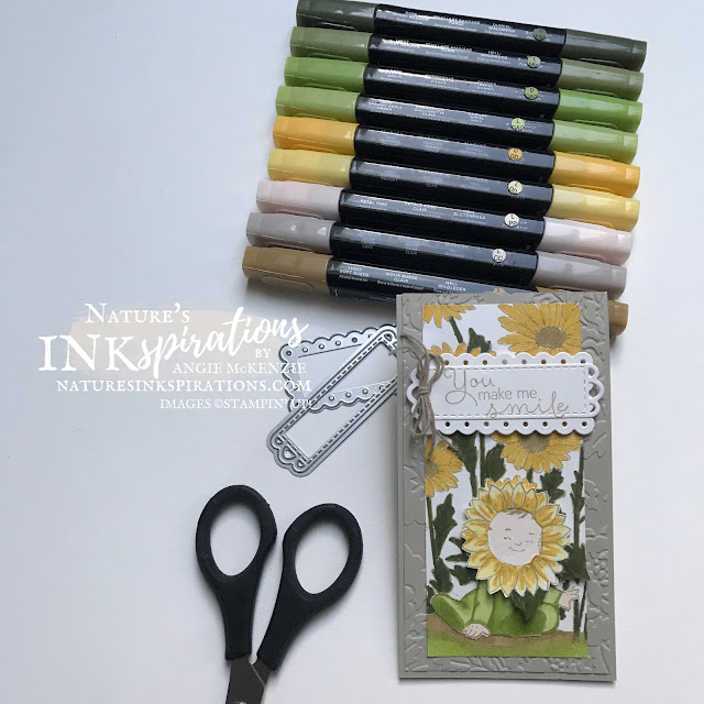 By Angie McKenzie for Ink.Stamp.Share. Showcase Blog Hop; Click READ or VISIT to go to my blog for details! Featuring the Daisy Garden Cling Stamp Set, the Wildly Adorable Cling Stamp Set, the Celebrate Sunflowers Cling Stamp Set, the Hydrangea Haven Photopolymer Stamp Set along with the Meadows Dies, Scalloped Contours Dies and the Pretty Flowers Embossing Folder by Stampin' Up!® to create a mini slim occasion card and envelope; #stampinup #cardtechniques #cardmaking #daisygardenstampset #wildlyadorablestampset #celebratesunflowersstampset #hydrangeahavenstampset #annegeddesinspired #meadowdies #scallopedcontoursdies #bakerstwineessentialspack #crumbcaketwine #sunflowerlittleone #stampingtechniques  #stampinupcolorcoordination #inkstampshareshowcasebloghop #naturesinkspirations #stamparatus #masking #coloringwithblends #fussycutting  #diycards #handmadecards