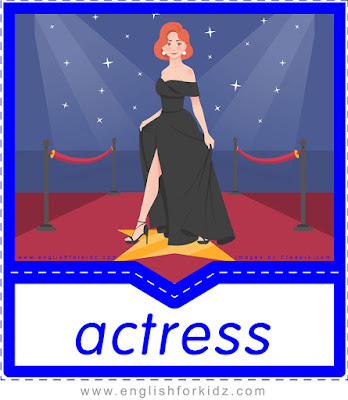 English flashcard, professions and occupations vocabulary, actress