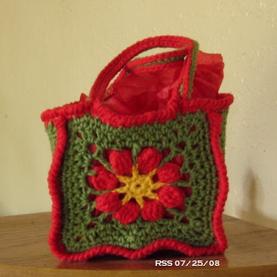 Poinsettia Flower Bag - Gift Bag Tote - Hand-Crocheted by RSS Designs In Fiber