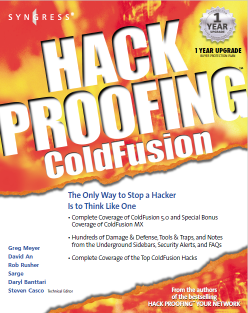 Hack Proofing: ColdFusion, Syngress