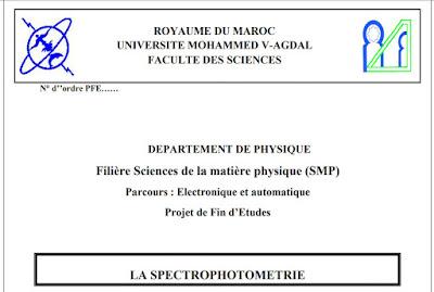 Projet de Fin d'Etudes sur La Spectrophotometrie