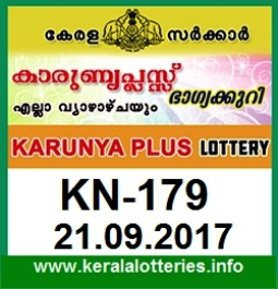 Kerala Lottery Result Karunya Plus (KN-179) on September 21,  2017