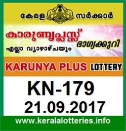 Kerala Lottery Result Karunya Plus (KN-179) on September 21,  2017