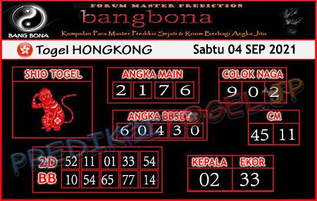 Prediksi Bangbona HK Sabtu 04 September 2021