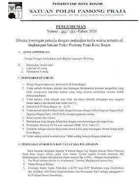 Pengumuman Lowongan Kerja Terbaru Satpol PP PKWT Februari 2020 SMA, SMK, MA, MAK