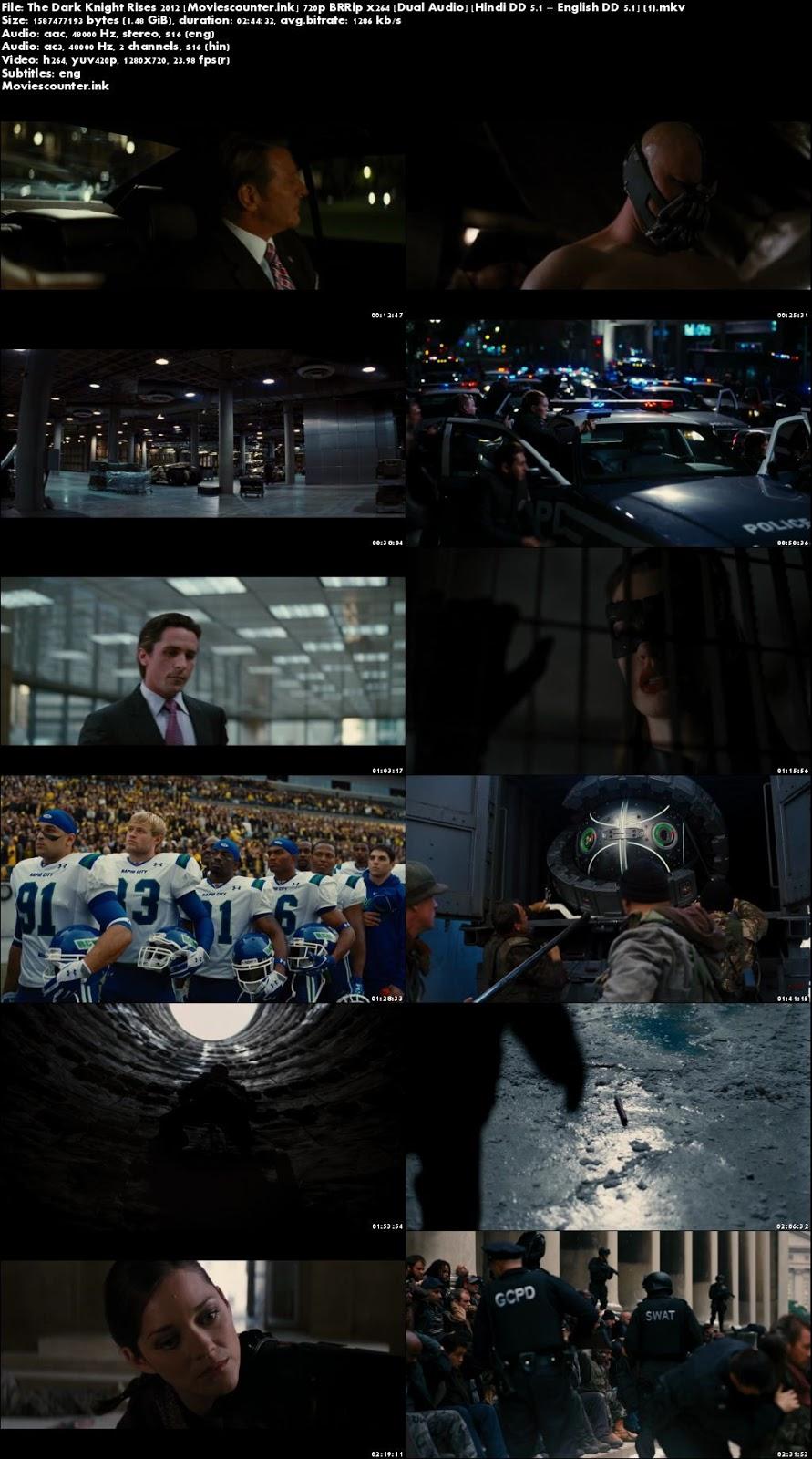 Poster The Dark Knight Rises - batman full movie download 720p hd  Dual Audio 2012