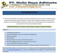Karir Surabaya Terbaru di PT. Mulia Raya Adhinata November 2019
