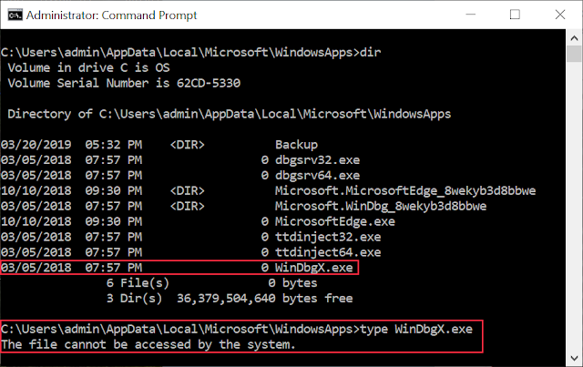 Directory listing of WindowsApps folder showing 0 byte WinDbgX.exe file and showing that trying to open file fails.