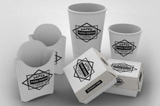 Paket satu set mockup fast food untuk branding merk