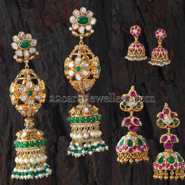 Traditional Style Gemstone Jhumkas