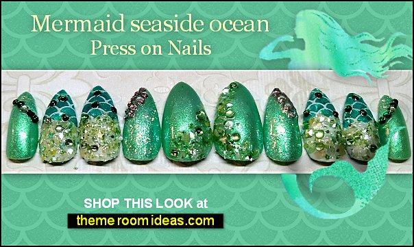 Mermaid press on nails - glitter false nails - rhinestone shell nails - scale aqua seaside nails - ocean summer costume nail designs