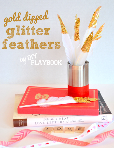 Gold dipped glitter feathers