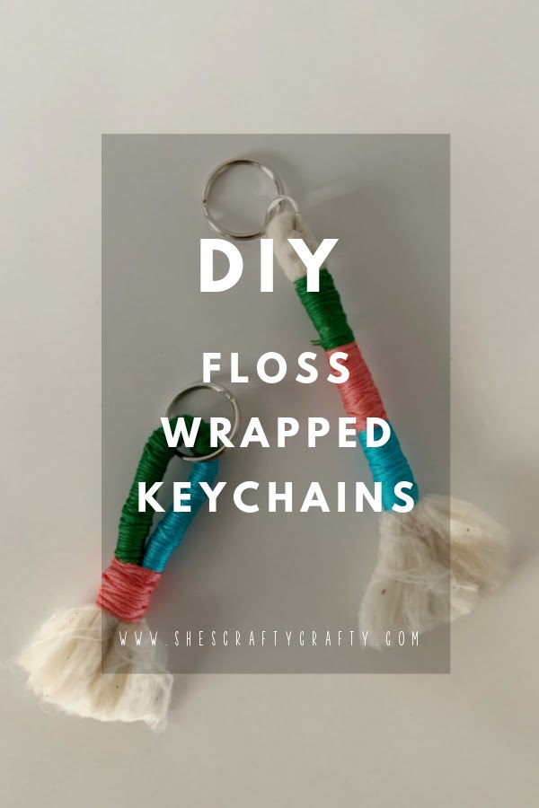 DIY Floss Wrapped Keychains pinterest pin.