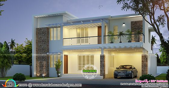 33 Lakhs contemporary flat roof home