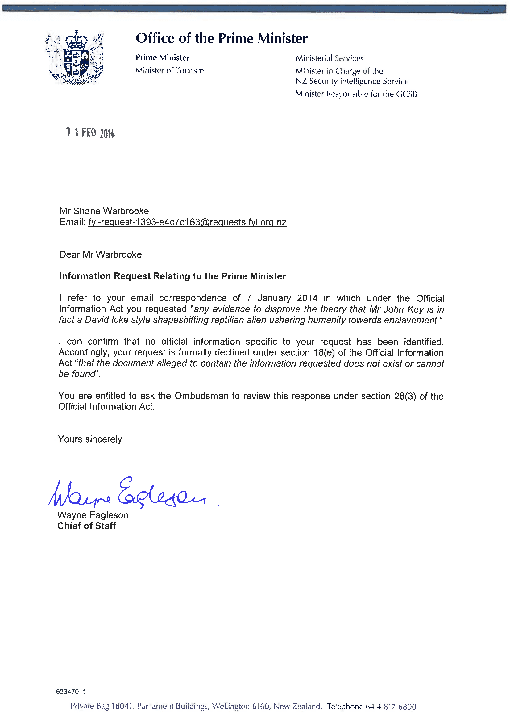 Information Request Relating to the Prime Minister