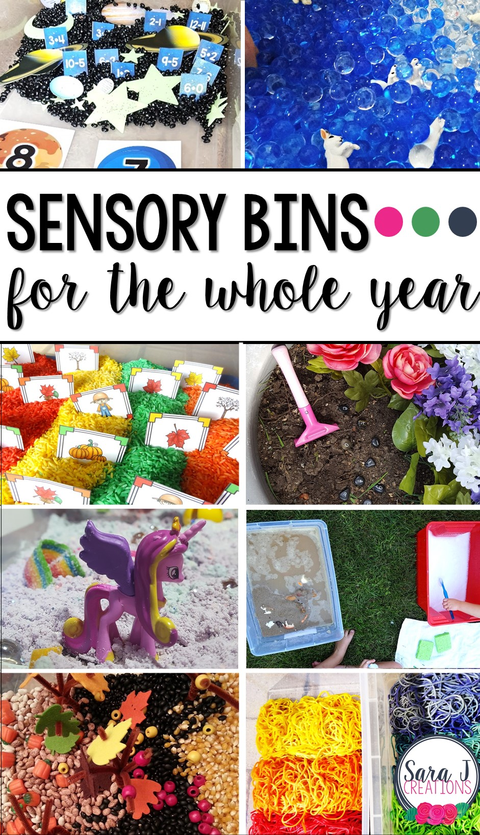 Sensory bin ideas for the whole year