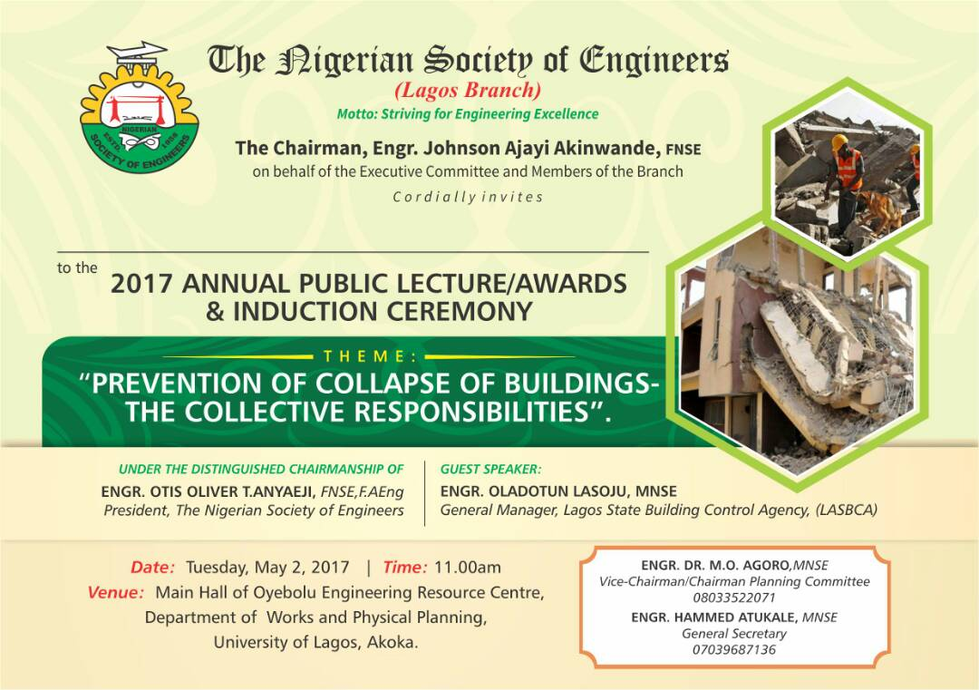 NSE Lagos Branch to Organise Public Lecture in its Quest to address  Incessant Building Collapses in the Country