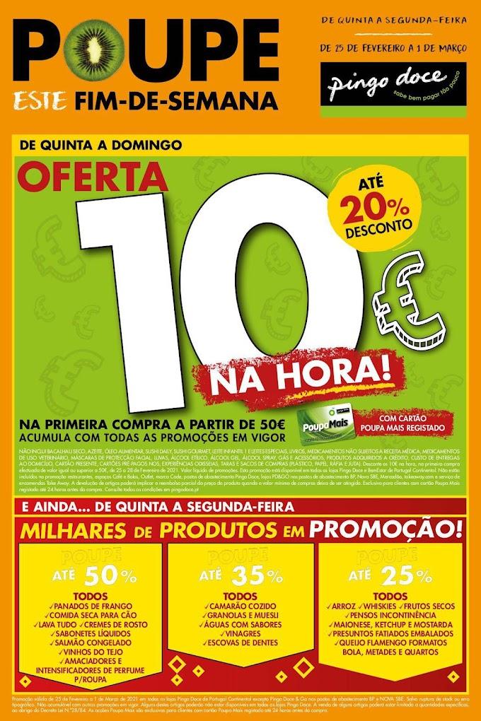 """Folheto Pingo Doce - """"Poupe este Fim de Semana""""  grandes promoções numa gama variada produtos de 25 de fevereiro a 1 de março"""