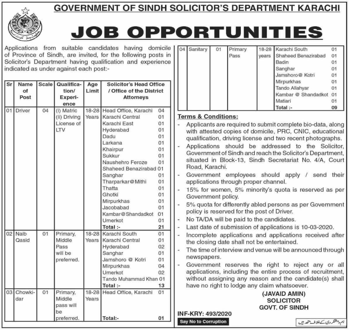 Sindh Solicitors Department Jobs For Miscellaneous Staff