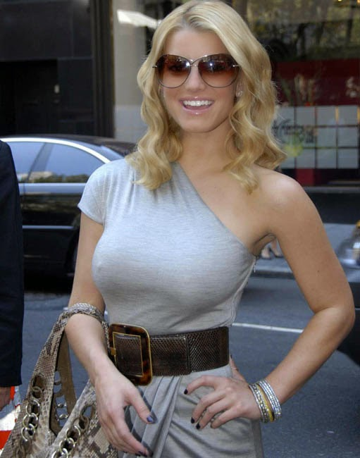 Jessica Simpson without bra nipple visible