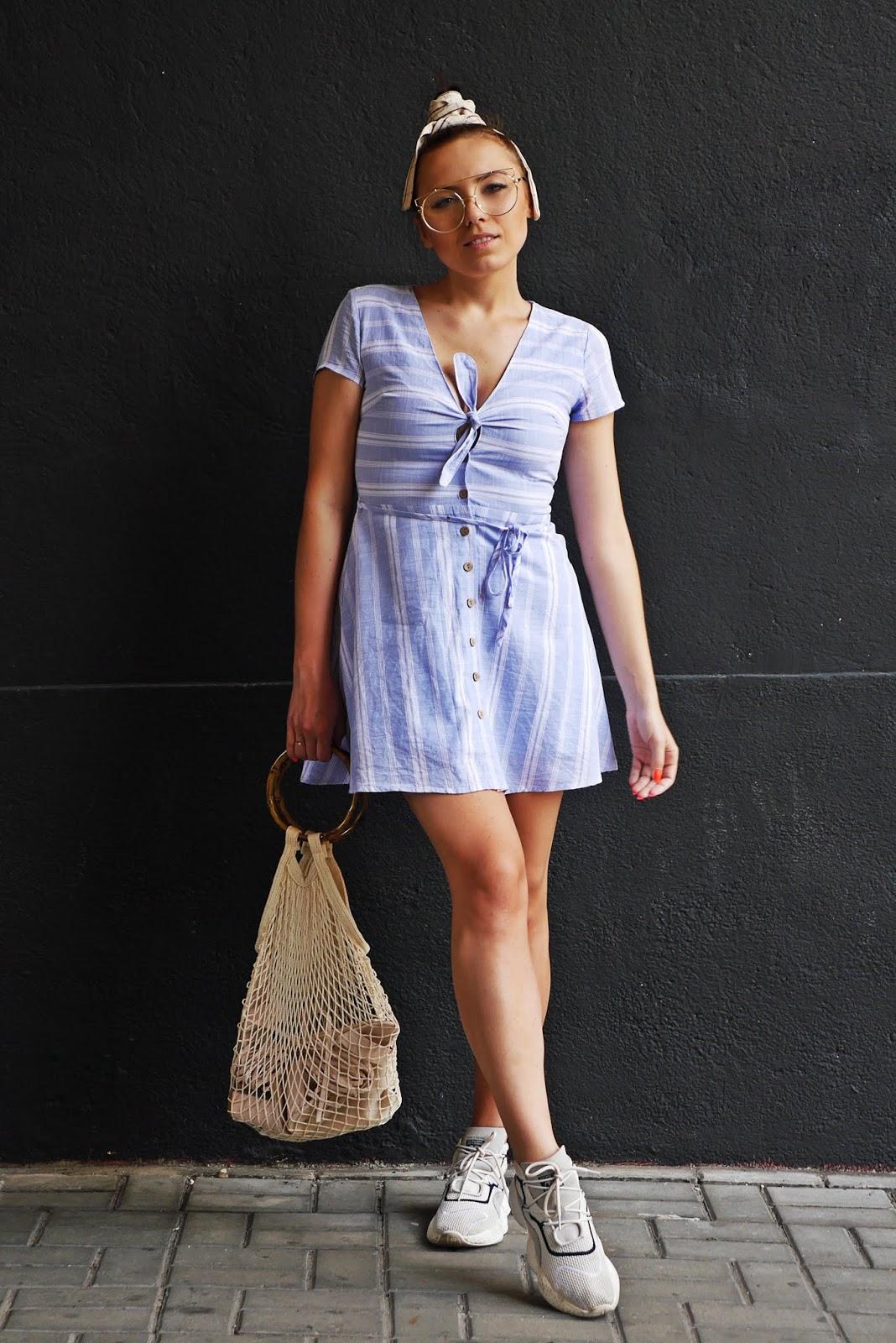 stripes dress beige sandals fashin blogger look outfit karyn