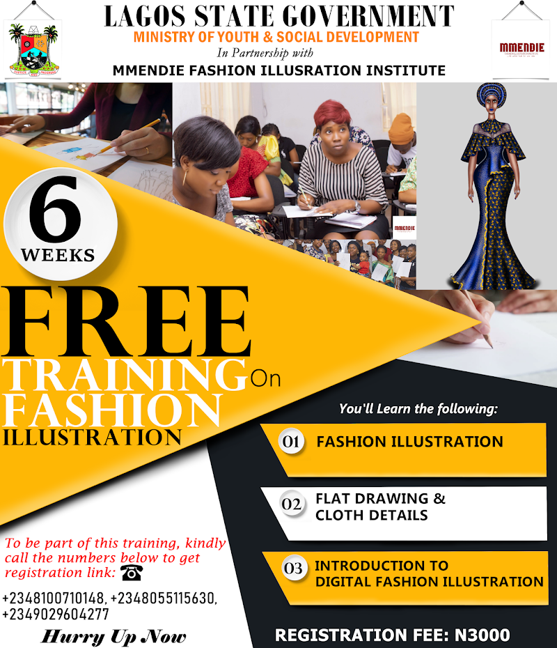 MMENDIE FASHION ILLUSTRATION INSTITUTE GOES INTO PARTNERSHIP WITH LAGOS STATE GOVERNMENT (MINISTRY OF YOUTH & SOCIAL DEVELOPMENT) - SIX WEEKS TRAINING ON FASHION ILLUSTRATION