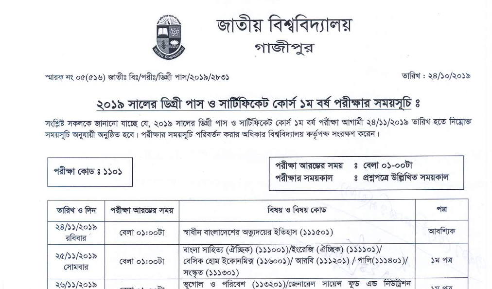 Natioanl university Degree 1st year Routine Download