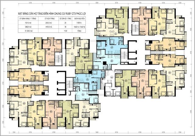 Mặt bằng thiết kế tầng căn hộ điển hình Ruby City CT3