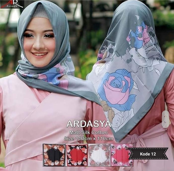 Jilbab Segi Empat Motif Bunga dari Ardasya Terbaru