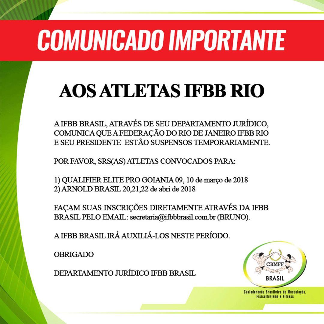 Comunicado do departamento jurídico da IFBB Brasil sobre suspensão temporária da IFBB-RIO. Foto: Divulgação