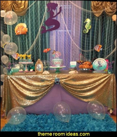 Mermaids Under the Sea Party Supplies mermaid party decorations under the sea theme party table