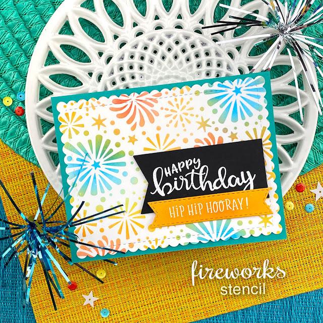 Fireworks Birthday card by Jennifer Jackson | Fireworks Stencil and Birthday Essentials Stamp Set by Newton's Nook Designs #newtonsnook