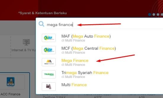 Cek angsuran mega finance via website