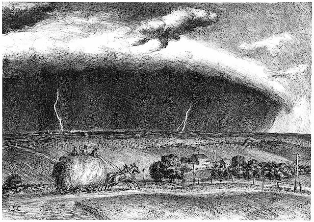 Grace Albee, a loaded farm hay wagon hurrying home before an approaching storm