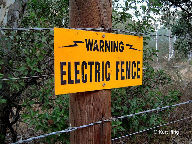 Although the county road is open to hikers, property on both sides is protected by electric fencing.