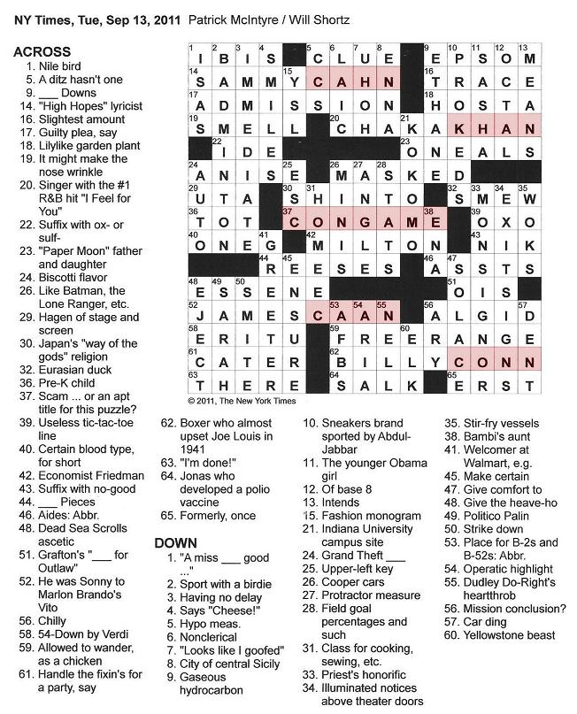 The New York Times Crossword in Gothic: 09.13.11 — Con Game