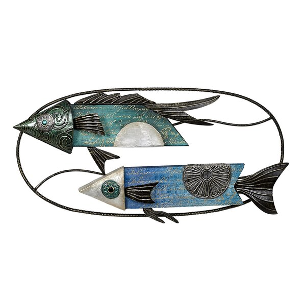Metal Capiz Colorful Fish Wall Decor